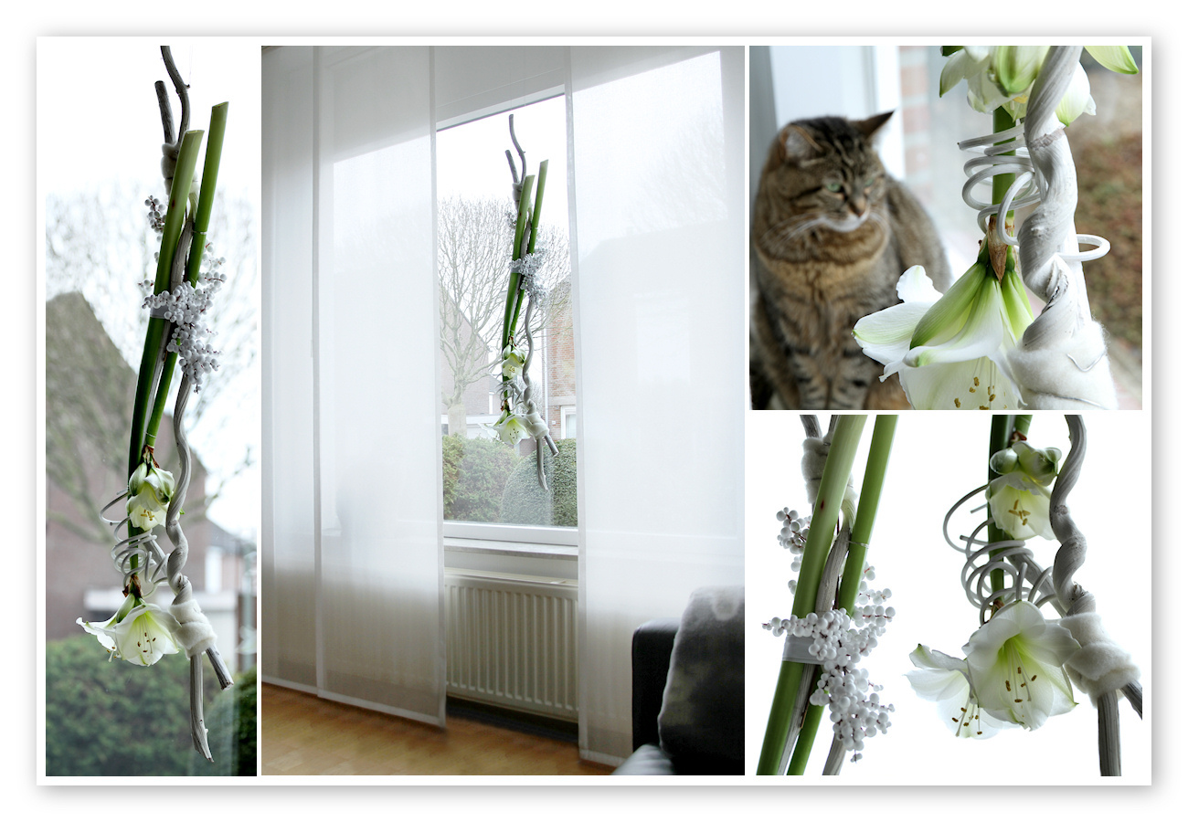 Raamdecoratie met amaryllissen – all made by